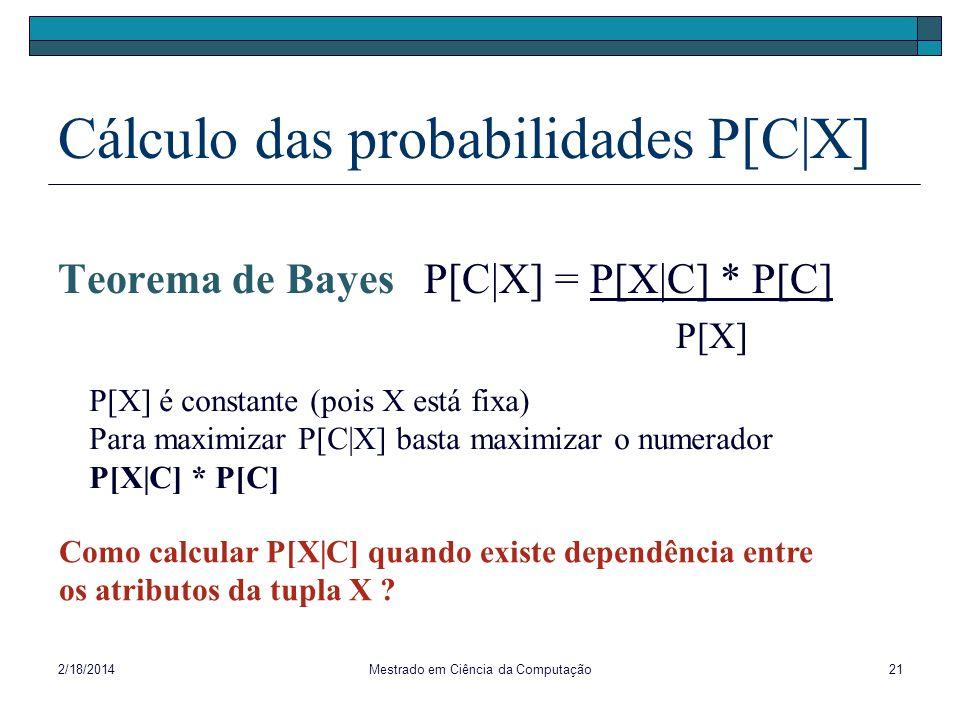 Cálculo das probabilidades P[C|X]